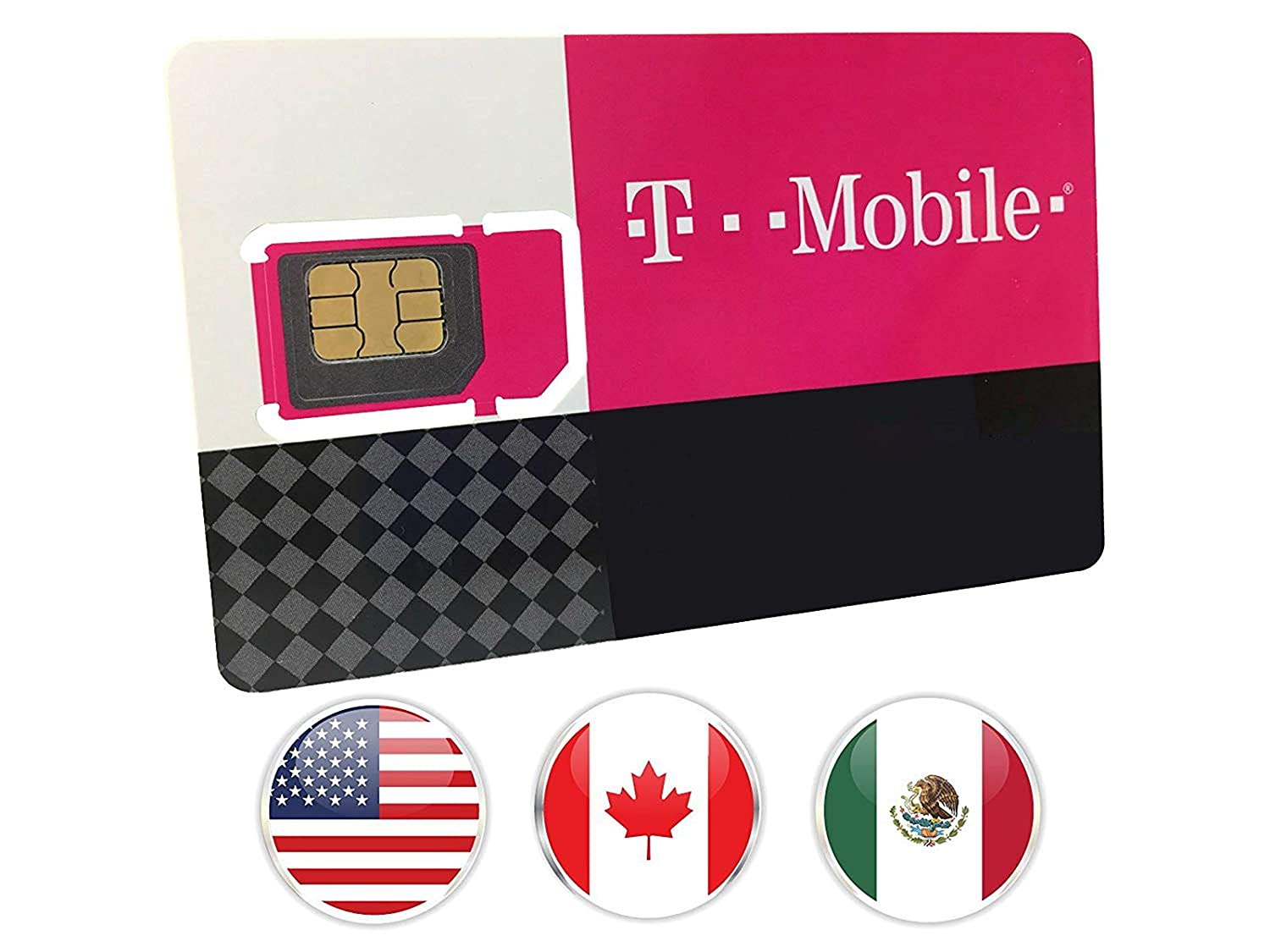 Canada, Mexico and USA Prepaid SIM Card T-Mobile 10GB 4G LTE Data in USA  and 5GB Data in Canada and Mexico with Unlimited Talk and Text among and