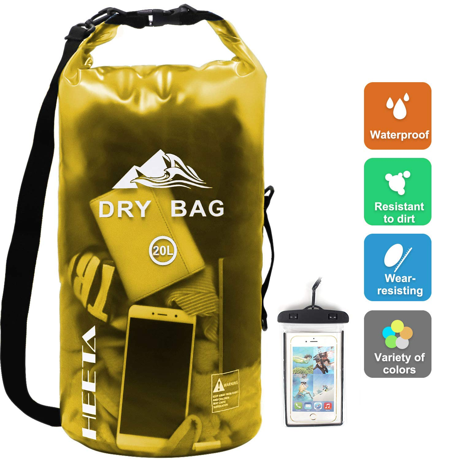 HEETA Waterproof Dry Bag for Women Men, Roll Top Lightweight Dry Storage Bag Backpack with Phone Case for Travel, Swimming, Boating, Kayaking, Camping and Beach, Transparent Yellow 20L by HEETA