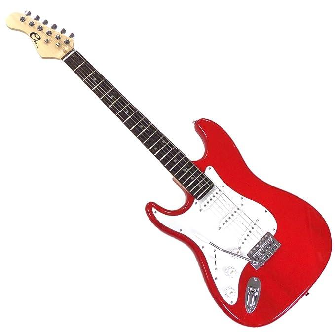 eleca dgt1l-rd zurdos tamaño completo 3 Pickup Guitarra eléctrica con trémolo, palisandro fingerboard- rojo: Amazon.es: Instrumentos musicales
