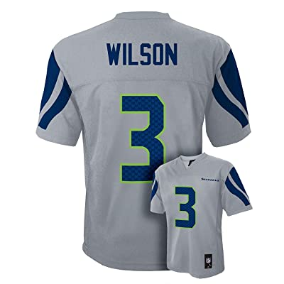 Russell Wilson Seattle Seahawks #3 Gray NFL Kids 4-7 Alterante Mid Tier Jersey