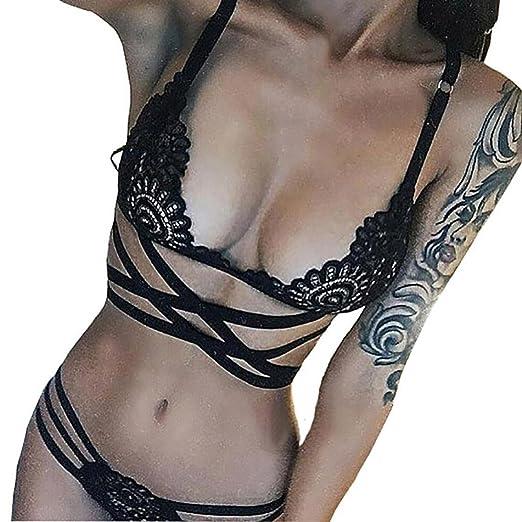 efb65a8b60 Minisoya Women Lace Bra Strappy Lingerie Set Spice Underwear Babydoll  Nightwear Tempation Crotchless Nightwear (Black