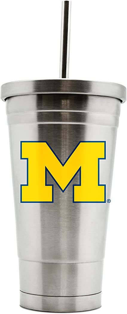 NCAA Michigan Wolverines 16oz Double Wall Stainless Steel Thermocan