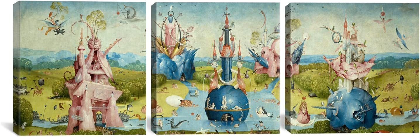 Icanvasart 3 Piece Top Of Central Panel From The Garden Of Earthly Delights Ii By Hieronymus Bosch Canvas Art Print 48 By 16 Inch Posters Prints