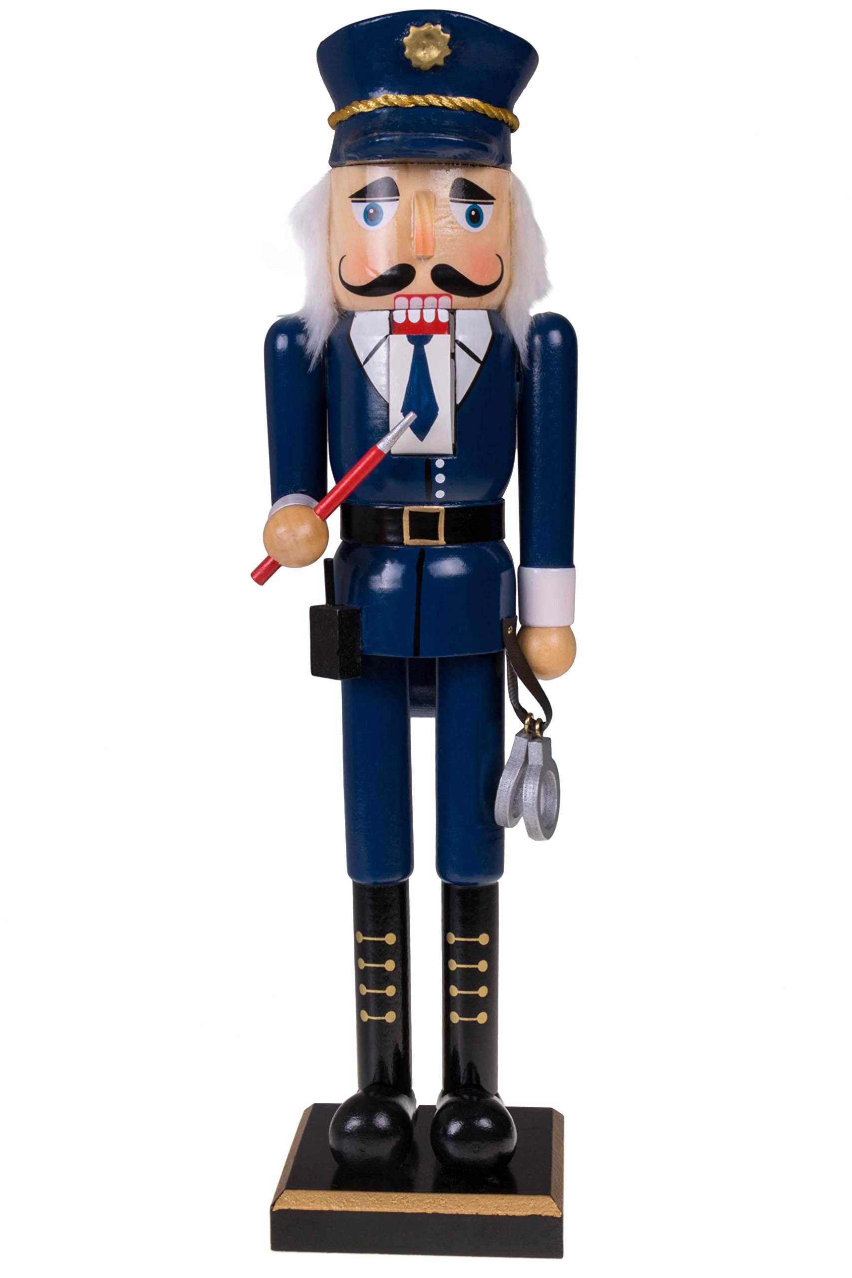 Traditional Police Officer Nutcracker | Traditional Uniform, Handcuffs and Baton | Perfect for Any Collection| Festive Christmas Decor | Perfect for Shelves and Tables | 100% Wood | 15'' Tall