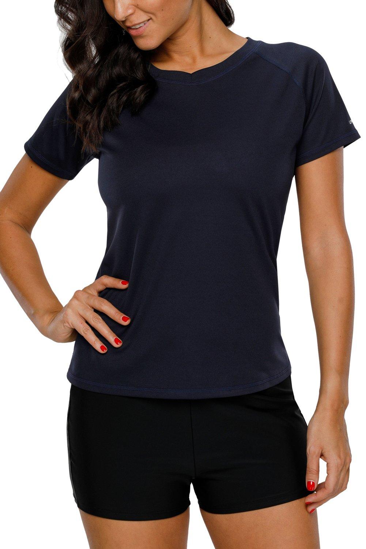 Vegatos Women Short Sleeve Swim Shirt UV Protection Workout Shirt Athletic Top by Vegatos (Image #4)