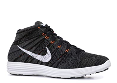 cad41b402f9d Nike Mens Lunar Flyknit Chukka Midnight Fog Total Orange White 554969-081  9.5