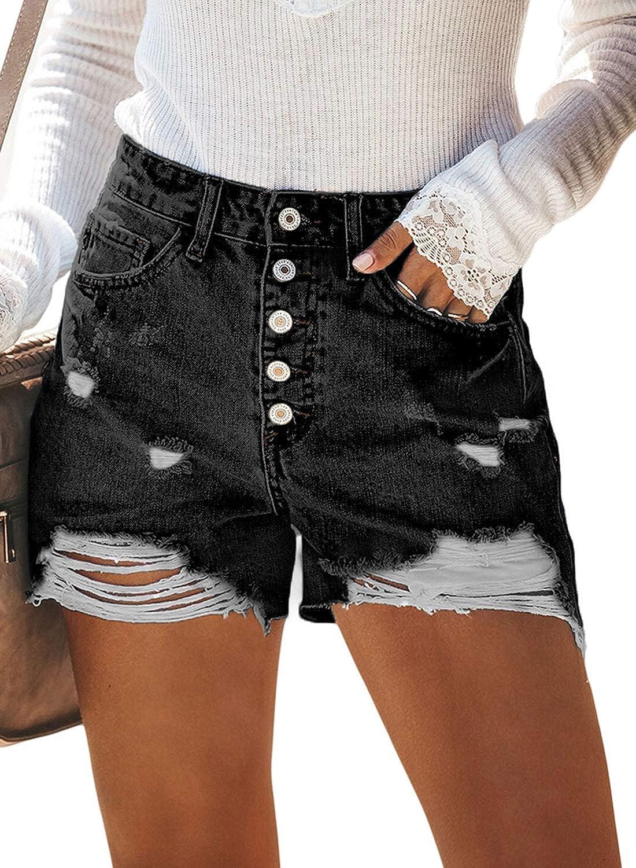61ff638233 BLENCOT Women's Junior Ripped High Rise Frayed Hem Stretchy Distressed  Jeans Denim Shorts