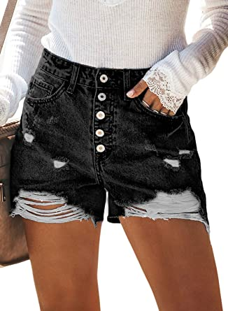 76d99f217 BLENCOT Women's Ladies Vintage Ripped High Rise Frayed Hem Stretchy  Distressed Denim Shorts Jean Black 25
