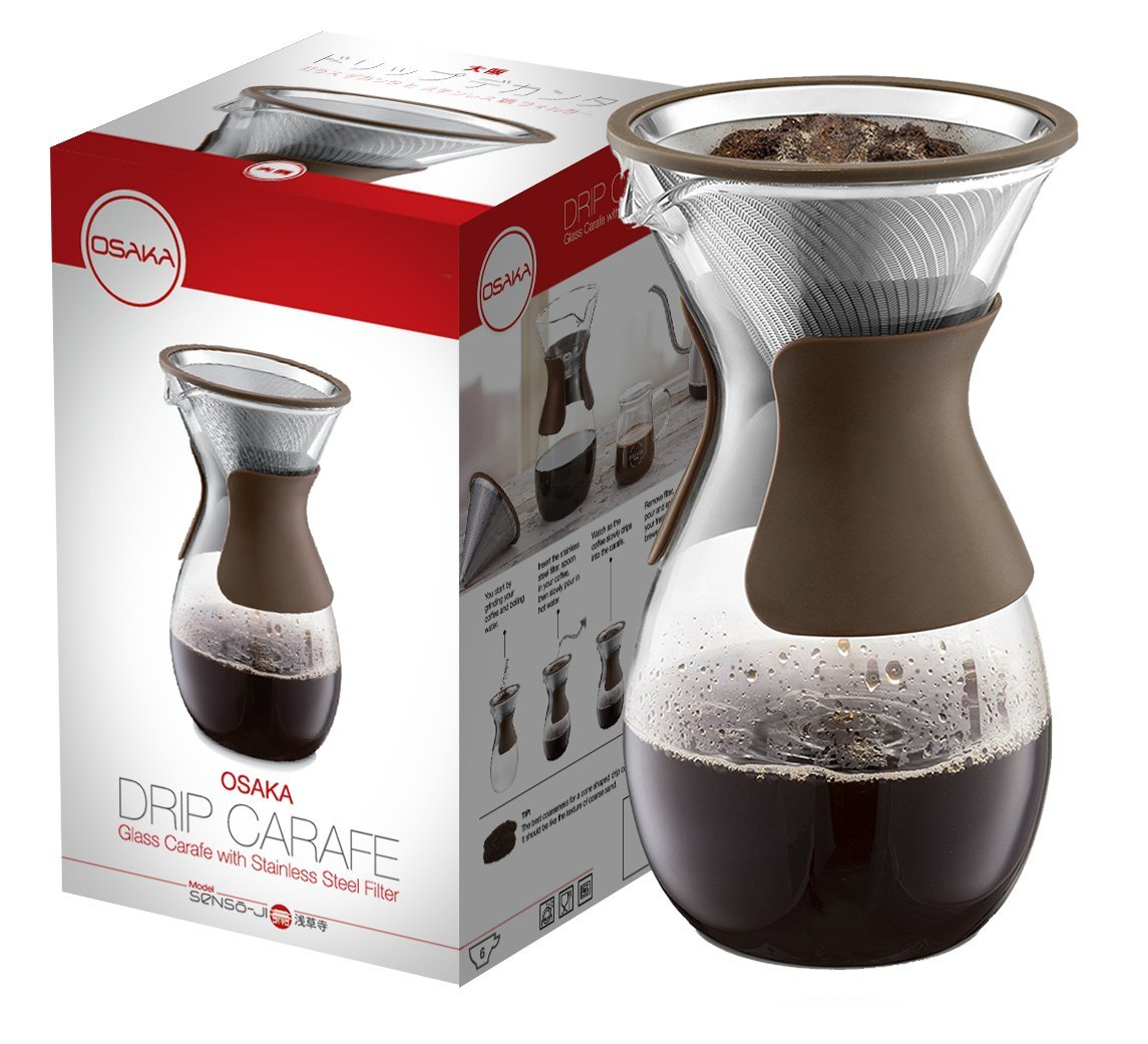 Osaka Pour Over Coffee Maker with Reusable Stainless Steel Drip Filter, 37 oz (7-Cup) Glass Carafe and Lid 'Senso-JI', Brown