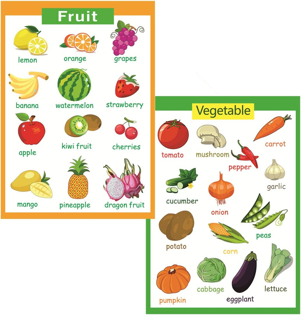 2 Pcs of Set Educational Preschool Poster for Toddlers and Kids|Great for Nursery Homeschool Kind Classroom decorations|School Wall Decor-Fruits,Vegetables(17x24in)