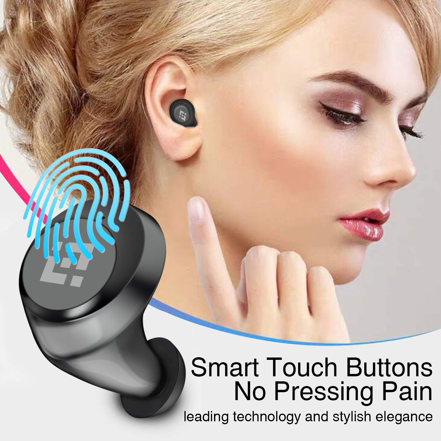 Wireless Earbuds 【Upgraded Graphene 3D Stereo Sound】 Bluetooth 5.0 with 28Hr Play Time Noise Cancelling HonShoop Lightweight Bluetooth Headphones Built-in Mic (Black) (Matte Black) by HonShoop (Image #5)