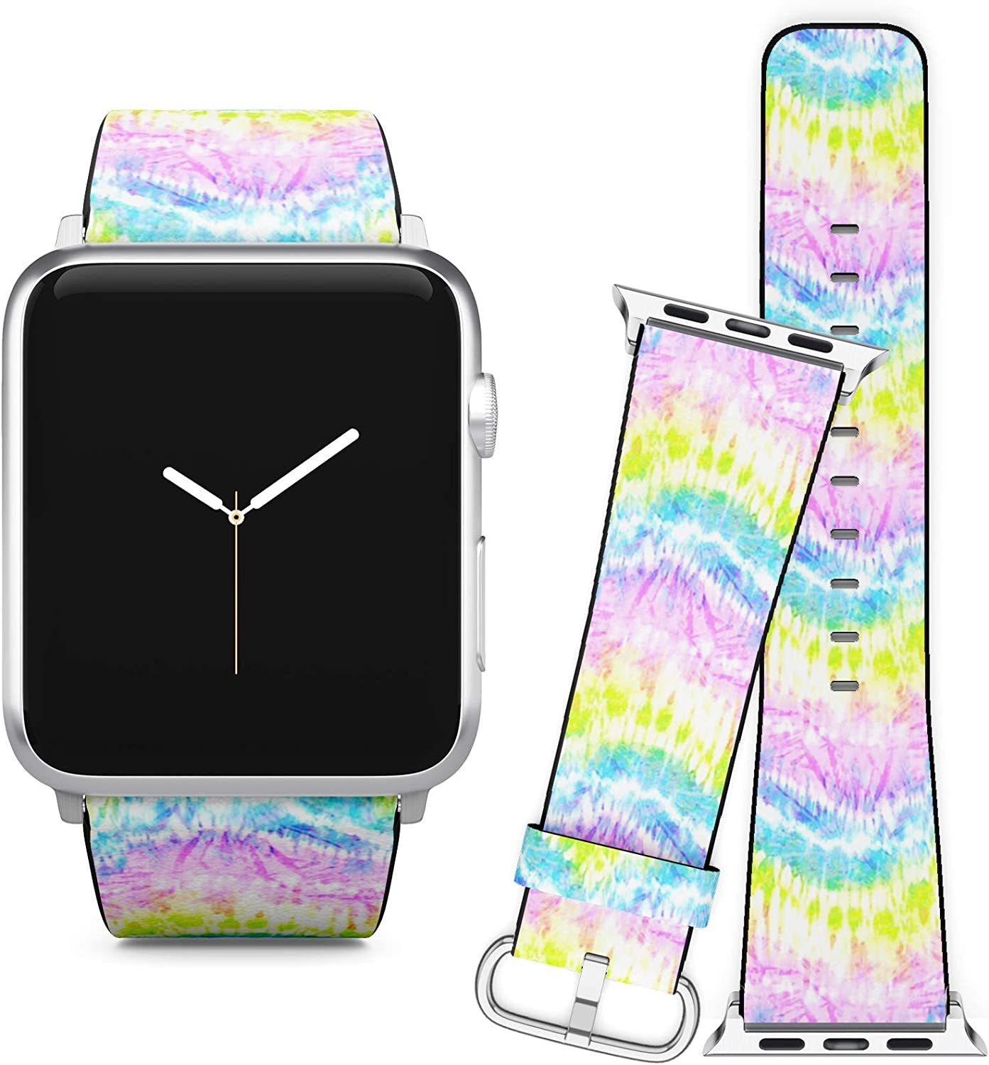 Compatible with Apple Watch iWatch (38/40 mm) Series 5, 4, 3, 2, 1 // Soft Leather Replacement Bracelet Strap Wristband + Adapters // Distorted Rainbow Tie Dye