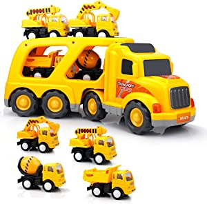 SLENPET Construction Truck Toys for 3 Years Old Boys Kids Toddlers, Vehicles Toy Set with Light and Sound, Large Transport Cargo Truck, Small Excavator, Crane, Mixer, Dumper Truck 5 in 1 Playset