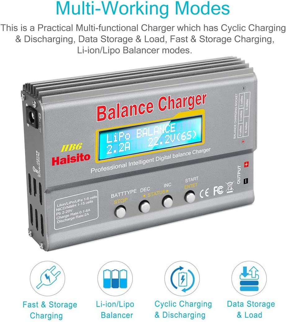 1-6S Rc Hobby Battery Balance Charger LED W//AC Power Adapter NiMH//NiCd 1-15S Haisito 80W 6A Lipo Battery Balance Charger Discharger for LiPo//Li-ion//LiFe Battery