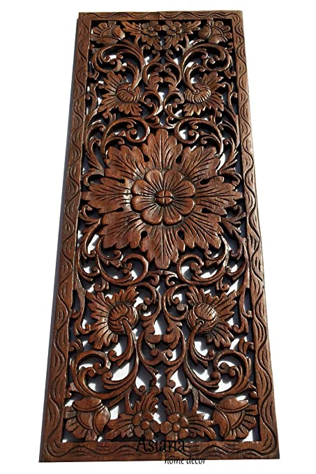 Amazon.com: Asiana Home Decor Large Carved Wood Wall Panel. Floral ...