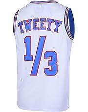 66ba99f96e1 CNALLAR Youth Basketball Jersey 1/3 Tweety Space Jam Jersey 90S Shirts for  Kids White