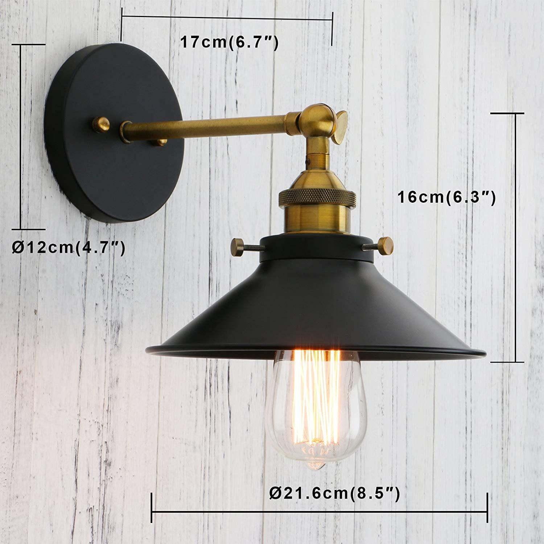 Permo Vintage Industrial Metal Wall Sconce Lighting 180 Degree Adjustable Wall Lamp Black