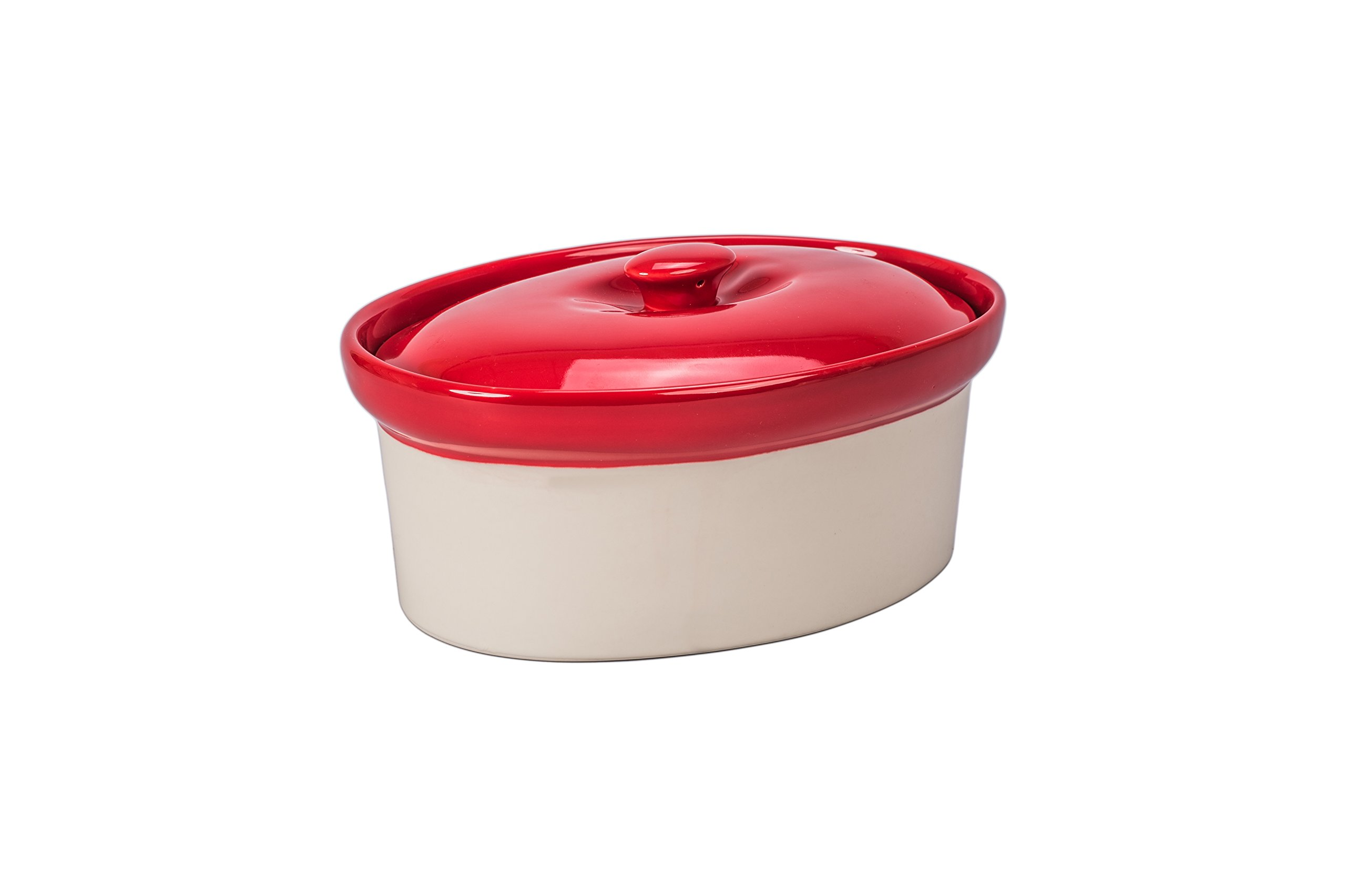 BIA Cordon Bleu Quatro 1.5-Quart Oval Casserole Baking Dish, Sand/Spice Red
