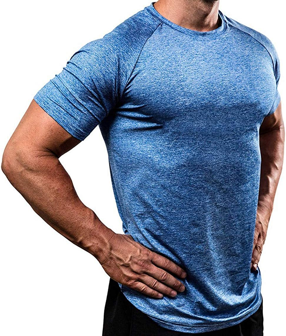 TTMOW Mens Athletic Compression Workout Shirts Quick Dry Short Sleeve Fitness Running T-Shirts