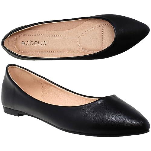 65f0e0a0e7e30 SOBEYO Women Ballet Flats Pointed Toe Slip On Closed Toe Shoes