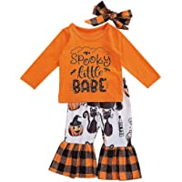 2Pcs Kids Toddler Baby Girls Halloween Outfits Pumpkin Ruffled Long Sleeve Tops Striped Flared Pants Infant Clothes Set