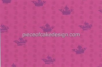 Pink Princess Crown Background Edible Image Cake Border Amazon
