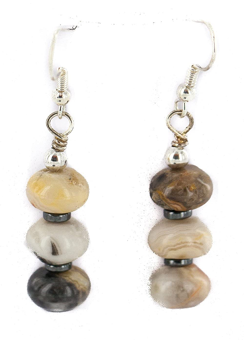 $80Tag Silver Hooks Certified Navajo Natural Agate Native Dangle Earrings 18290-14 Made By Loma Siiva