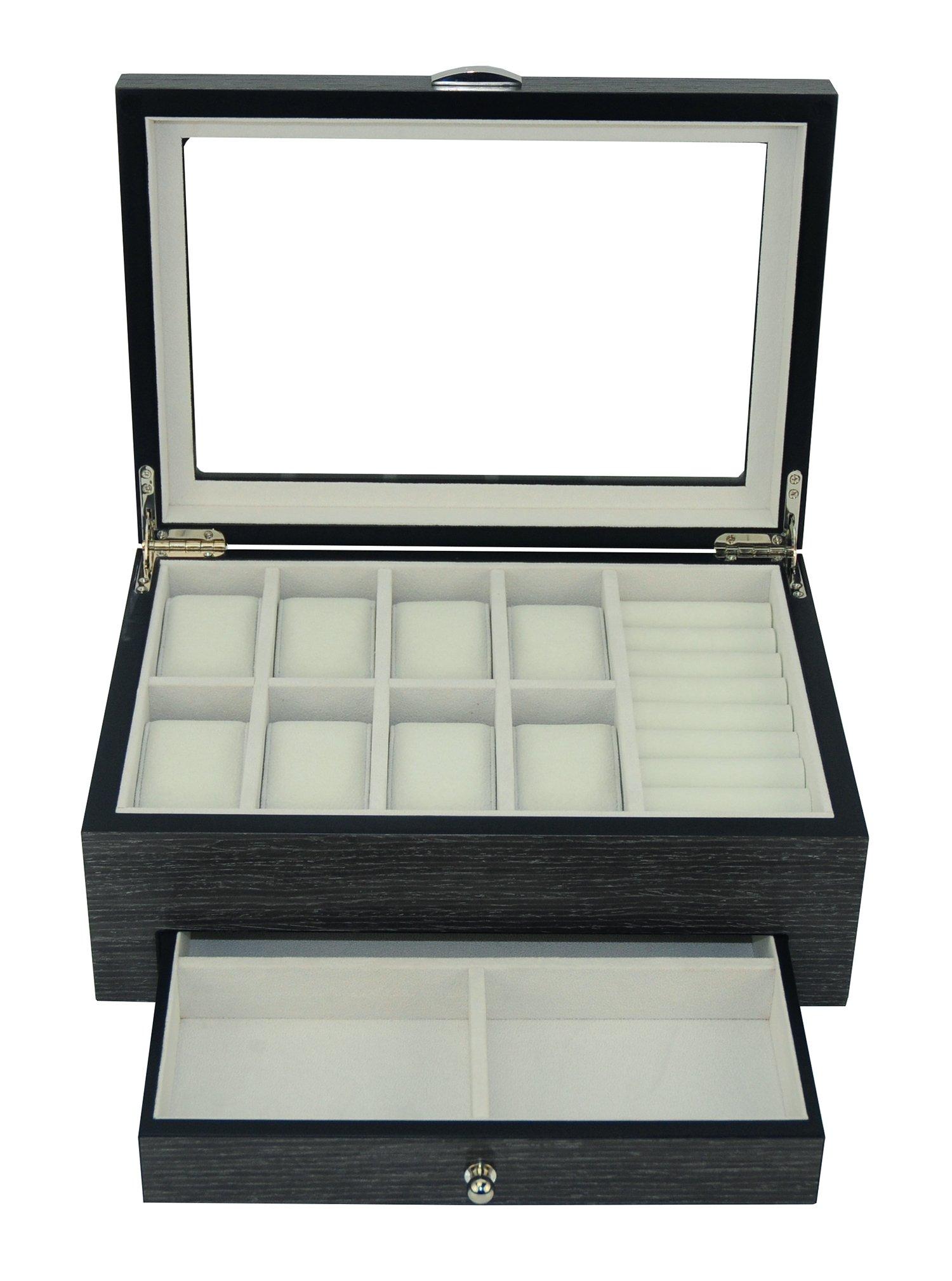 Grey Ginko Wood 8 Watch 8 Cufflink Row Case & Ring Pen Storage Organizer Men's Jewelry Box Display Case with Drawer