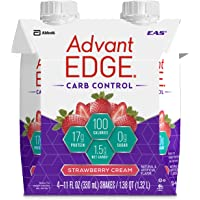 EAS AdvantEDGE Carb Control Ready-to-Drink Protein Shake, 17 grams of Protein, Strawberry Cream, 4 Count (Packaging May Vary)