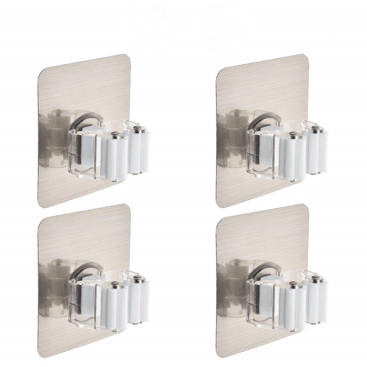 Mop Holder Idealco (4 Pack) Broom Hanger, Reusable Mop Broom Organizer Mop Rack Non-slip and Waterproof,Self Adhesive Wall Mounted Tool,Storage Rack Storage & Organization Super Adhesion for Your Home