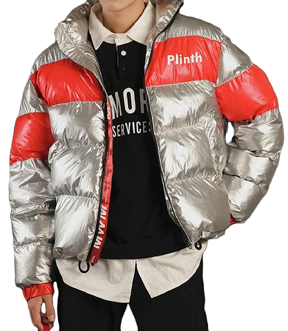 HTOOHTOOH Mens Stylish Thick Metallic Quilted Loose Fit Shiny Down Jacket Coat