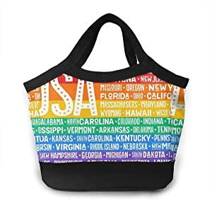 Large Lunch Bag For Women Vintage United States Of America LGBT Flag Customized Water-resistant Cooler Lunch Tote Box Food Insulated Bags For Work/Office/Beach Fishing/Picnic