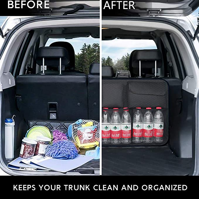 Adjustable Straps and Large Cargo Net Pockets Accessories Black Car Backseat Trunk Organizer for Car SUV Van Auto Trunk Storage Container Lightweight Car Trunk Storage Organizer Large Capacity