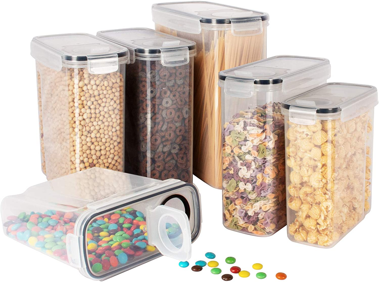 Kitsure Cereal Container with Easy Pouring Lids, Pantry Organization and Storage, Airtight Food Storage Containers for Pantry and Kitchen, 6-Pack Cereal Containers Storage Set for Multiple Demands