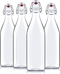 Giara Swing Top Bottles 33 ¾ Ounce/1 Liter (4 Pack) ROUND Clear Glass Grolsch Flip Top Bottle With Stopper, for Beverages, Smoothies, Kefir, Beer, Soda, Juicing, Kombucha, Water, Milk, Oil and Vinegar