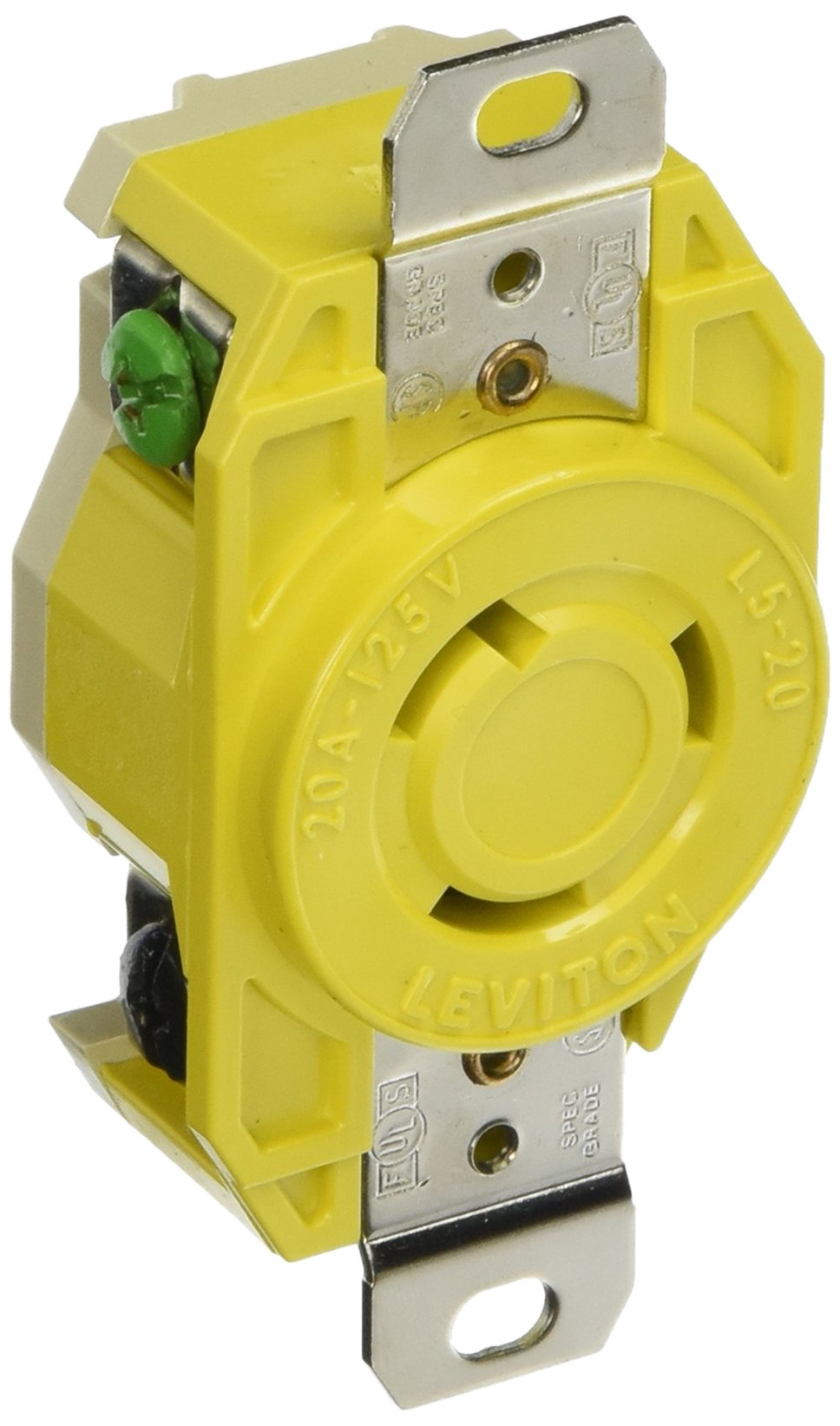 Leviton 23CM-10 20 Amp, 125 Volt, Flush Mounting Locking Receptacle, Industrial Grade, Grounding, Corrosion Resistant, Yellow