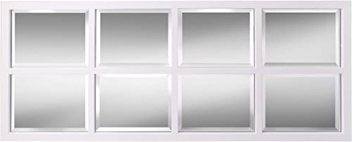Kate and Laurel Stryker Windowpane Framed 8-Pane Wall Accent Mirror, White