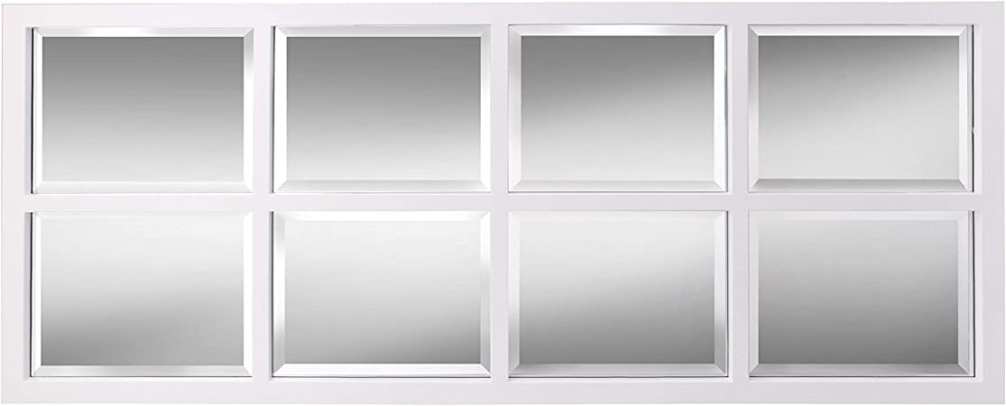 Amazon Com Kate And Laurel Stryker Windowpane Framed 8 Pane Wall Accent Mirror White Home Kitchen