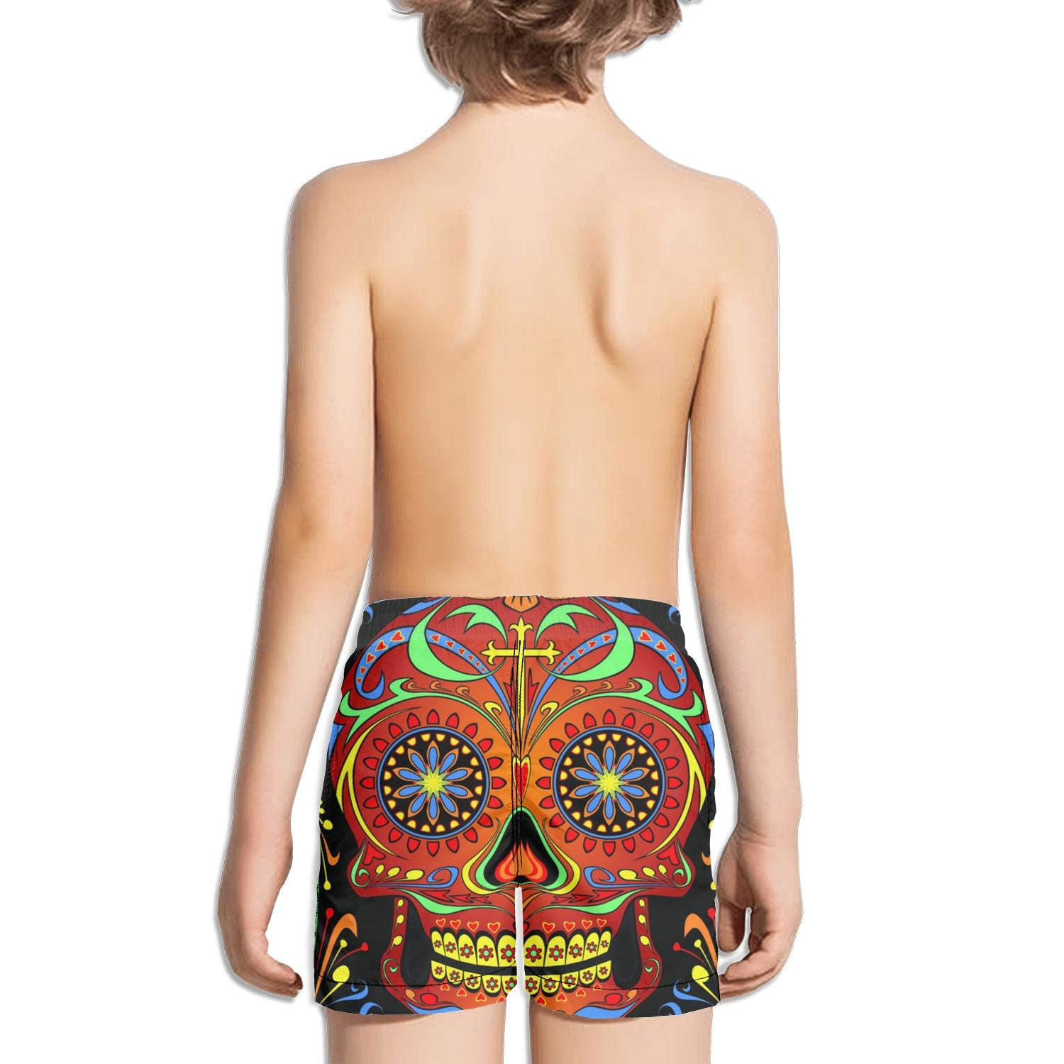Boys Board Shorts Day of The Dead Sugar Skull Quick Dry Bathing Suits Beach Board Shorts