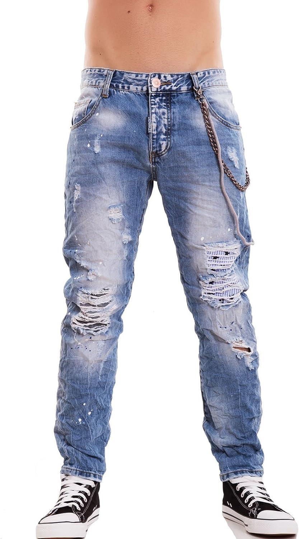 Jeans uomo pantaloni denim strappi catena slim casual cotone nuovi X3J16M48
