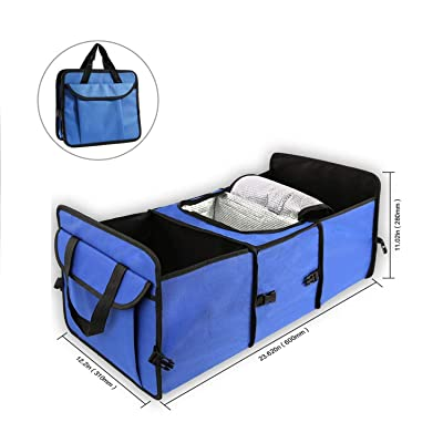 WITSKICH Car Trunk Organizer with Cooler Bag for Hot/Cold Food While Traveling Shopping Camping, Collapsible Auto Trunk Storage Box for SUV, Vehicle, Car Accessories and Groceries – Blue: Automotive [5Bkhe1500890]