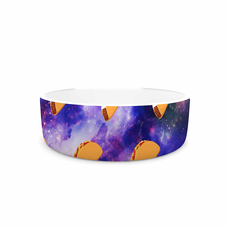 KESS InHouse Juan Paolo Taco Galaxy  Pink Purple Pet Bowl, 7