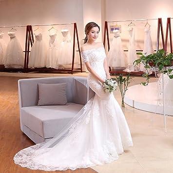 Summer Wedding Dress.An Summer Wedding Dress Bride Trailing Word Fishtail Wedding Dress