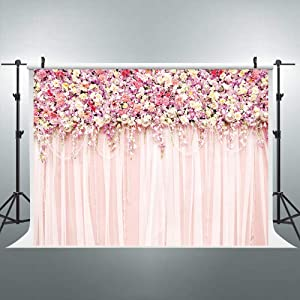 Riyidecor Bridal Floral Wall Backdrop Romantic Rose Flower Photography 10x8 Feet Background Pink and White Carpet Decoration Wedding Props Party Photo Shoot Backdrop Blush Vinyl Cloth