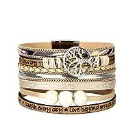 JAOYU Bracelet en Cuir Femmes Charms Bracelets pour Les Filles Bracelet Manchette Tressé Bijoux Faits à la Main - Sœur, mère, Cadeaux d'amitié