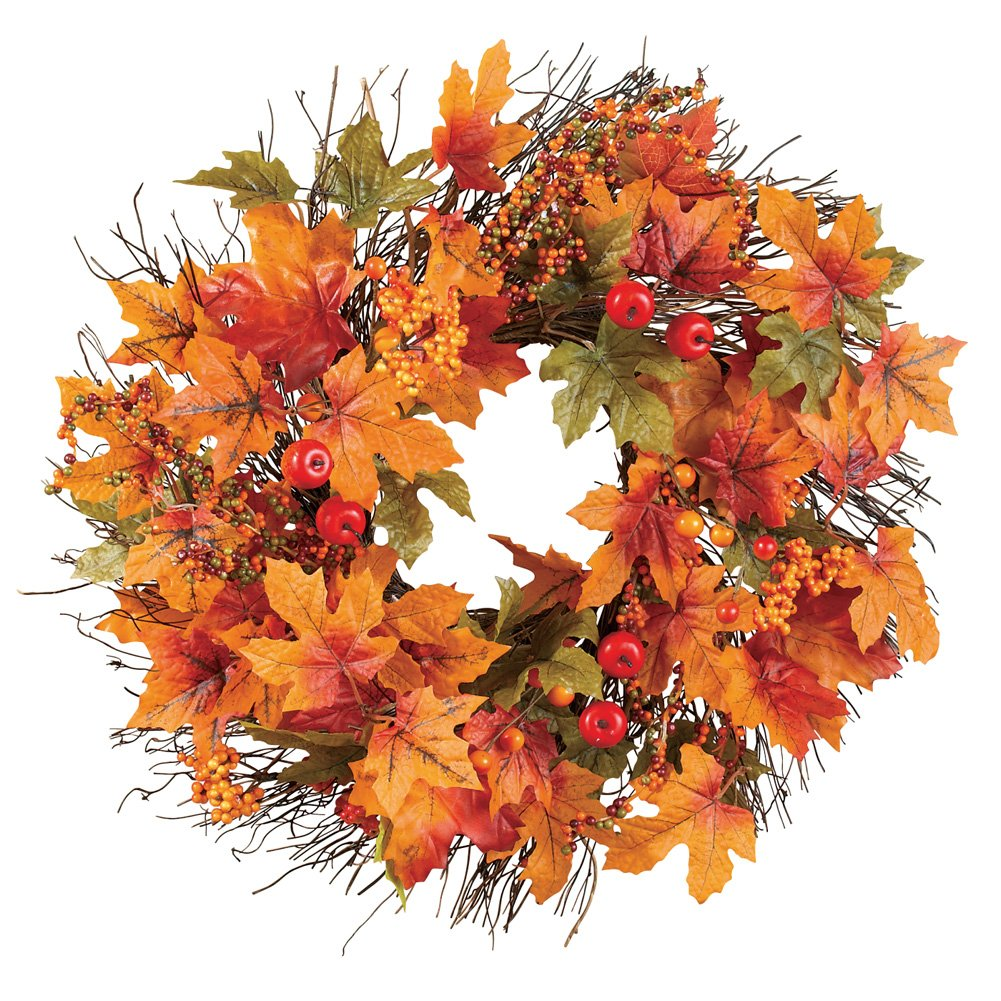 Collections Etc Berry and Autumn Leaves Wreath, 20-Inch Diameter, Leaf Wreath for Fall and Home Decor by Collections Etc