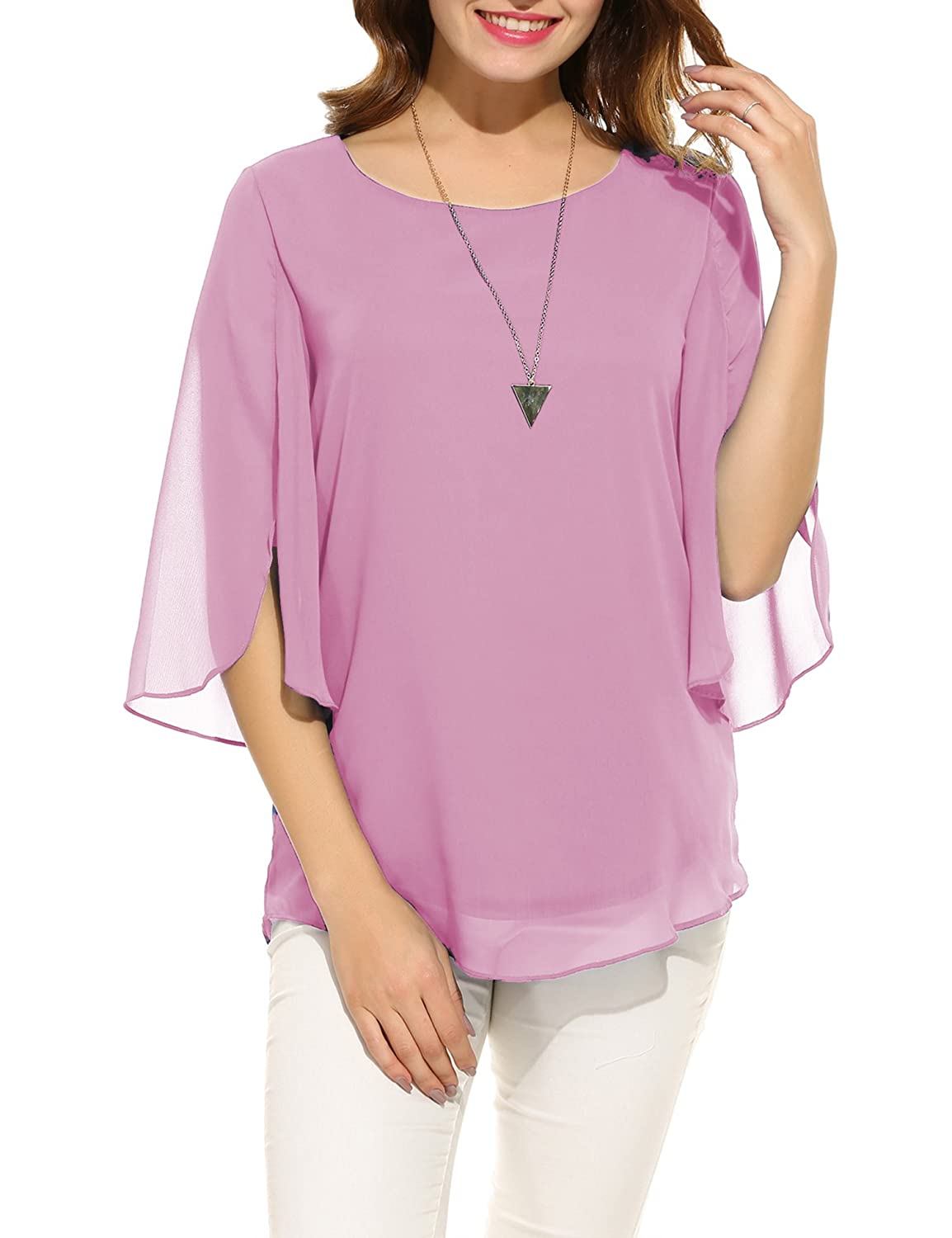 5dc0784eab87 Hount Women Casual Loose Pullover Chiffon Blouse 3 4 Sleeve Solid Chiffon  Shirt at Amazon Women s Clothing store