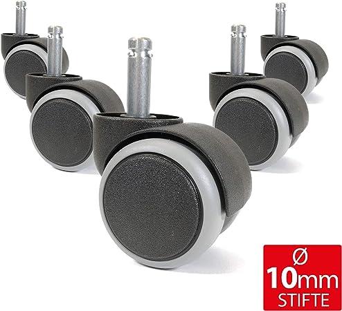 5er Set gebremste Weichboden-Rollen f/ür B/ürostuhl 11 mm Stift Durchmesser 50 mm Premium Teppichrollen in Schwarz Dreh-stuhlrollen f/ür weiche B/öden
