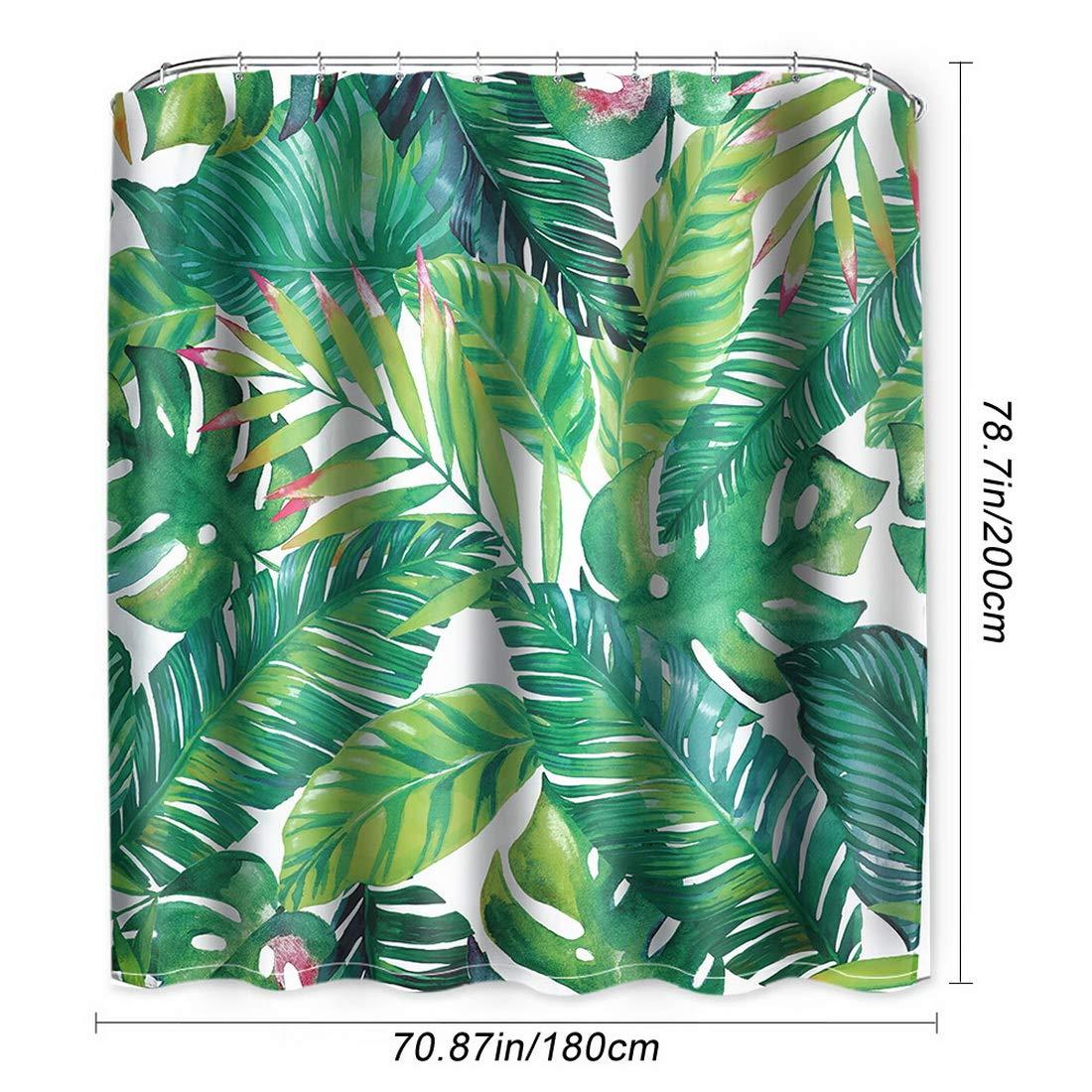 2# 180 x 180 cm NIBESSER Rideau de Douche 180 x 200 et 180 x 180 cm avec 12 Anneaux de Rideau de Douche Anti-moisissure et imperm/éable /à leau avec Impression num/érique 3D Vert