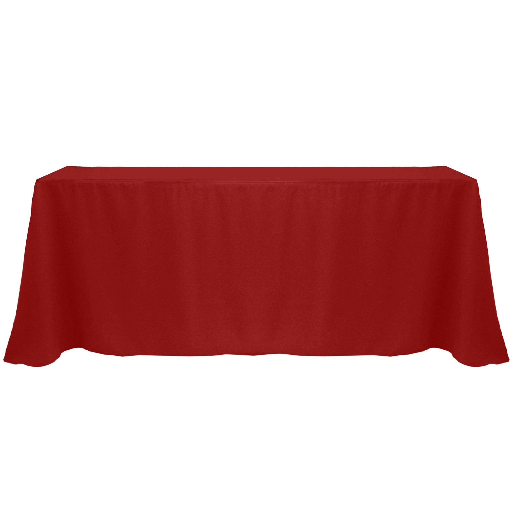 Ultimate Textile (5 Pack) 90 x 156-Inch Rectangular Polyester Linen Tablecloth with Rounded Corners - for Wedding, Restaurant or Banquet use, Cherry Red